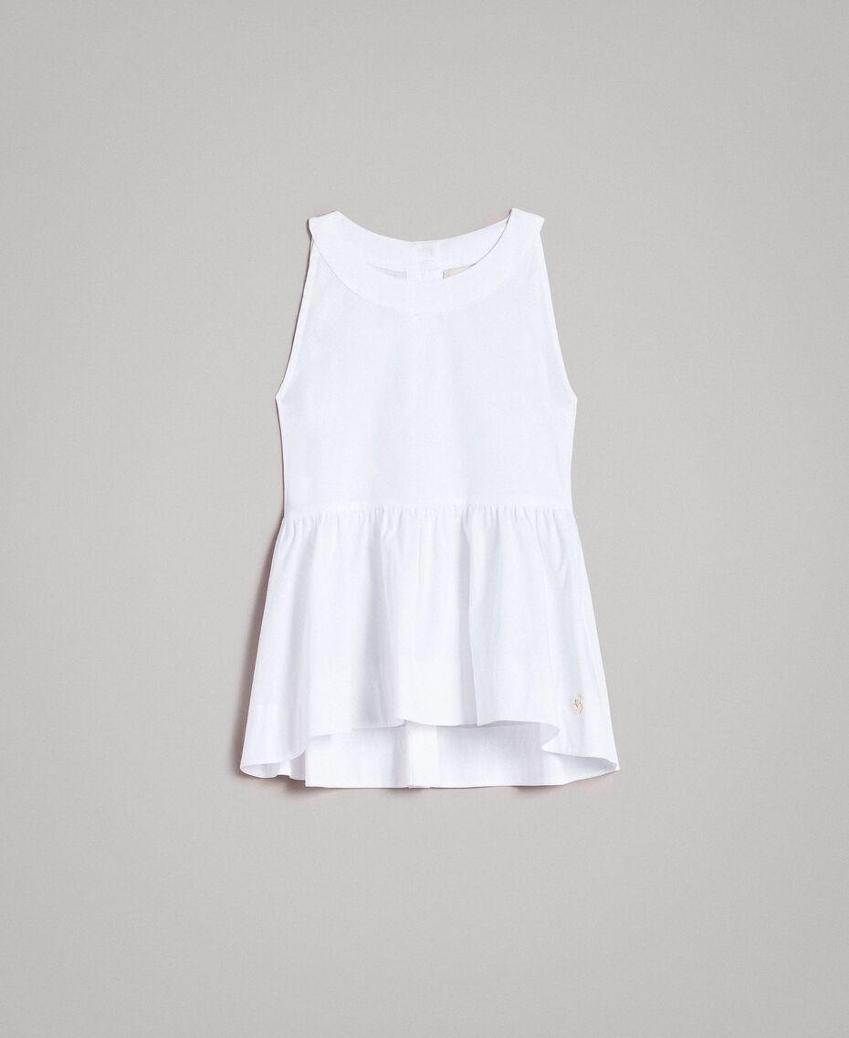 Top en popeline stretch Blanc Enfant 191GJ2412-01