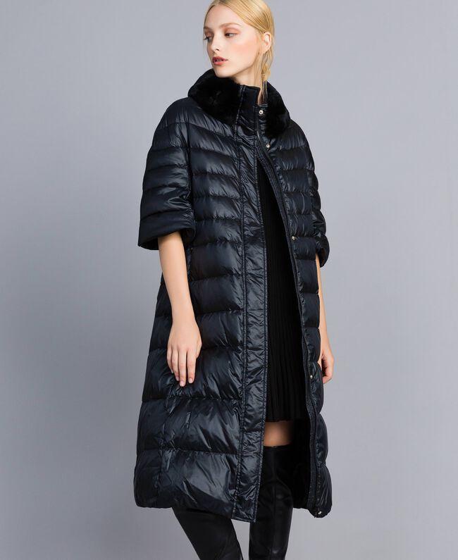 16e163c82 Doudoune longue en nylon brillant Femme, Noir | TWINSET Milano