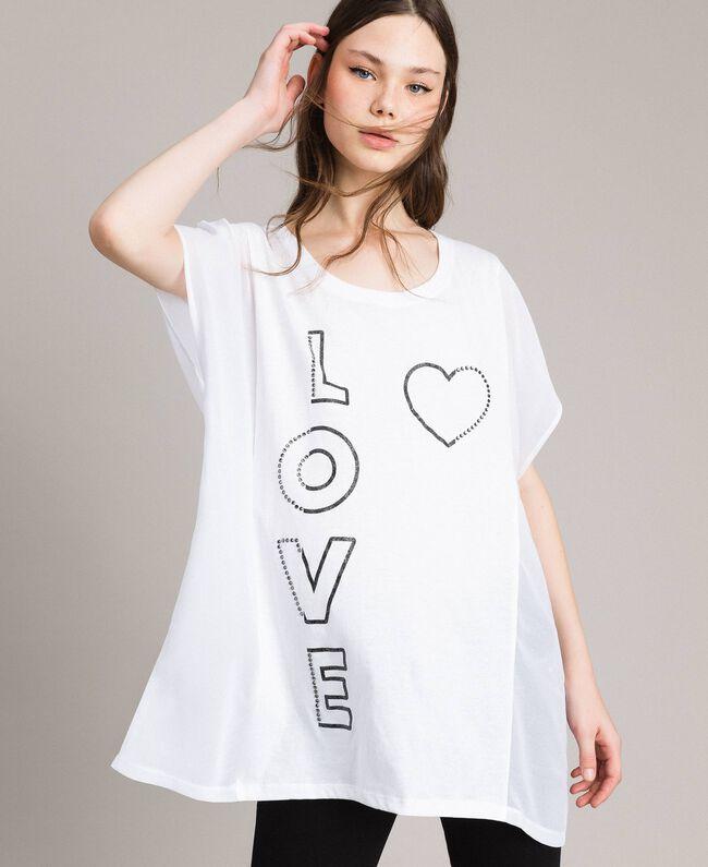 Maxi t-shirt avec imprimé et strass Blanc Femme 191LB23KK-01