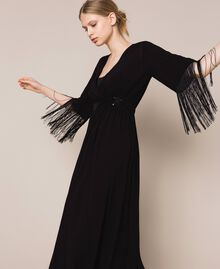 Midi dress with fringes Black Woman 201LB2CKK-03