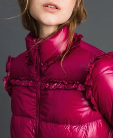 Long quilted padded jacket with real down Beet Red Woman 192TP2201-05