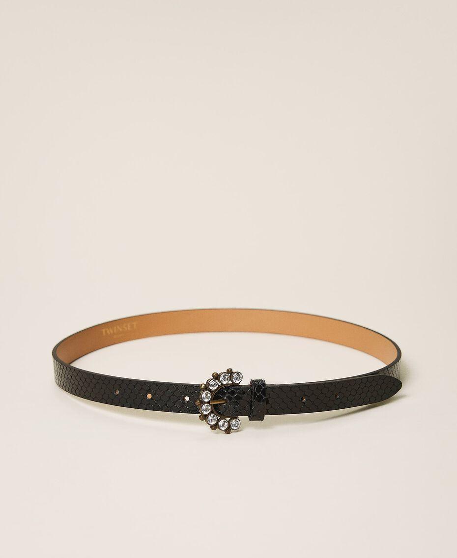Кожаный ремень с ювелирной пряжкой Черная печать питона женщина 202TO5015-03