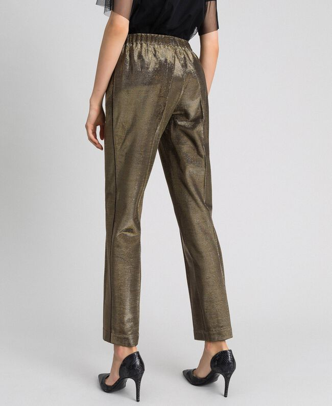 Metal effect trousers Black Gold Woman 192MT2191-03