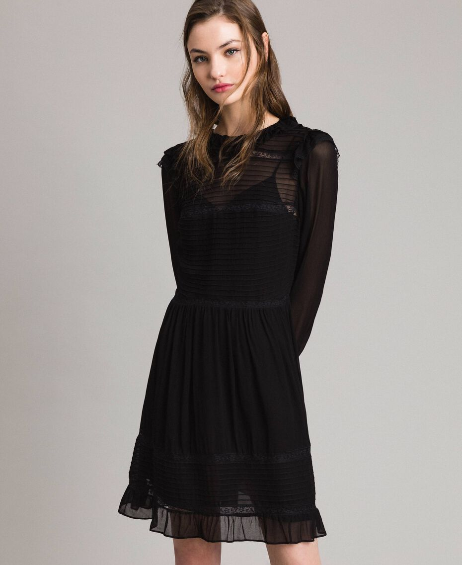 Georgette and lace dress Black Woman 191TP2127-02