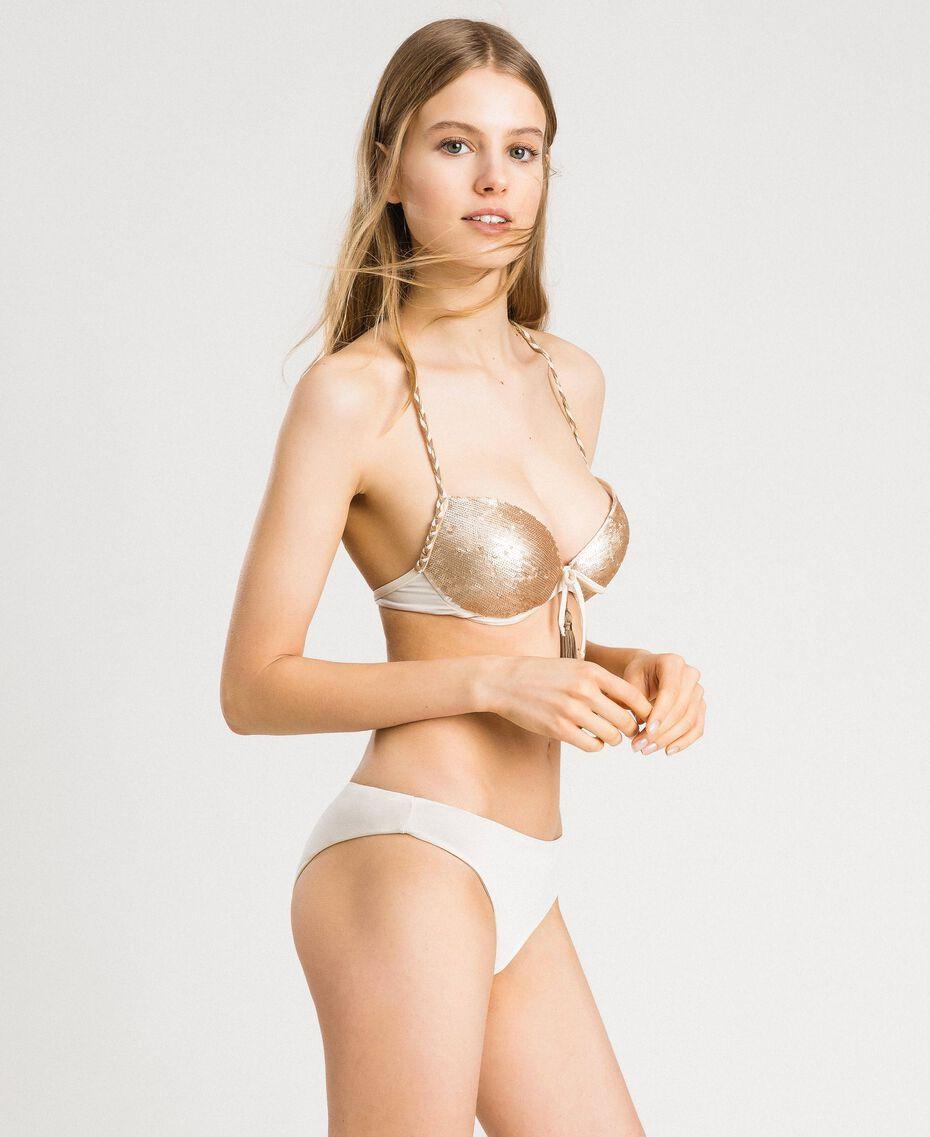 Einfarbige Bikinihose mit hoher Taille Elfenbein Frau 191LMMC66-02