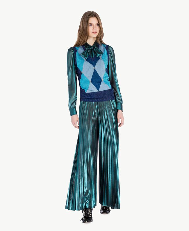 Pleated palazzo pants Metallic Turquoise Woman PS82QQ-04