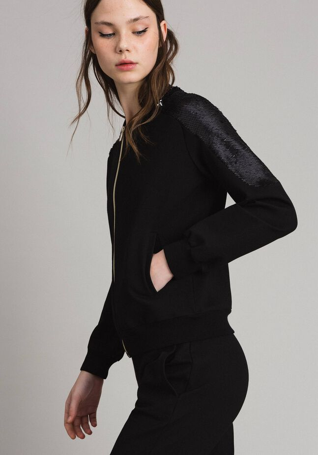 Jersey bomber jacket with sequins