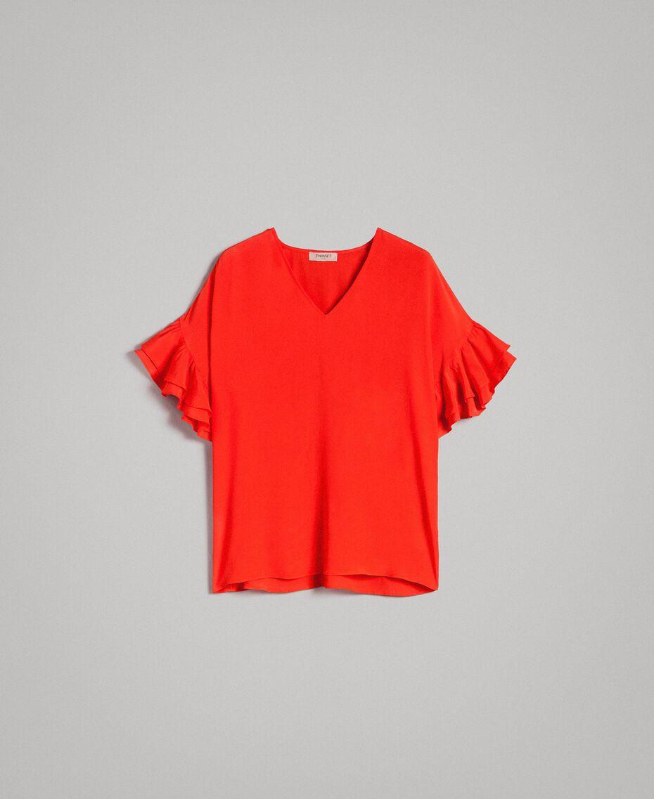 Blusa in misto seta Rosso Granatina Donna 191TT2075-0S