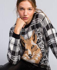 Maxi maglia jacquard check Jacquard Quadri Madreperla / Nero Fox Donna YA83HN-01
