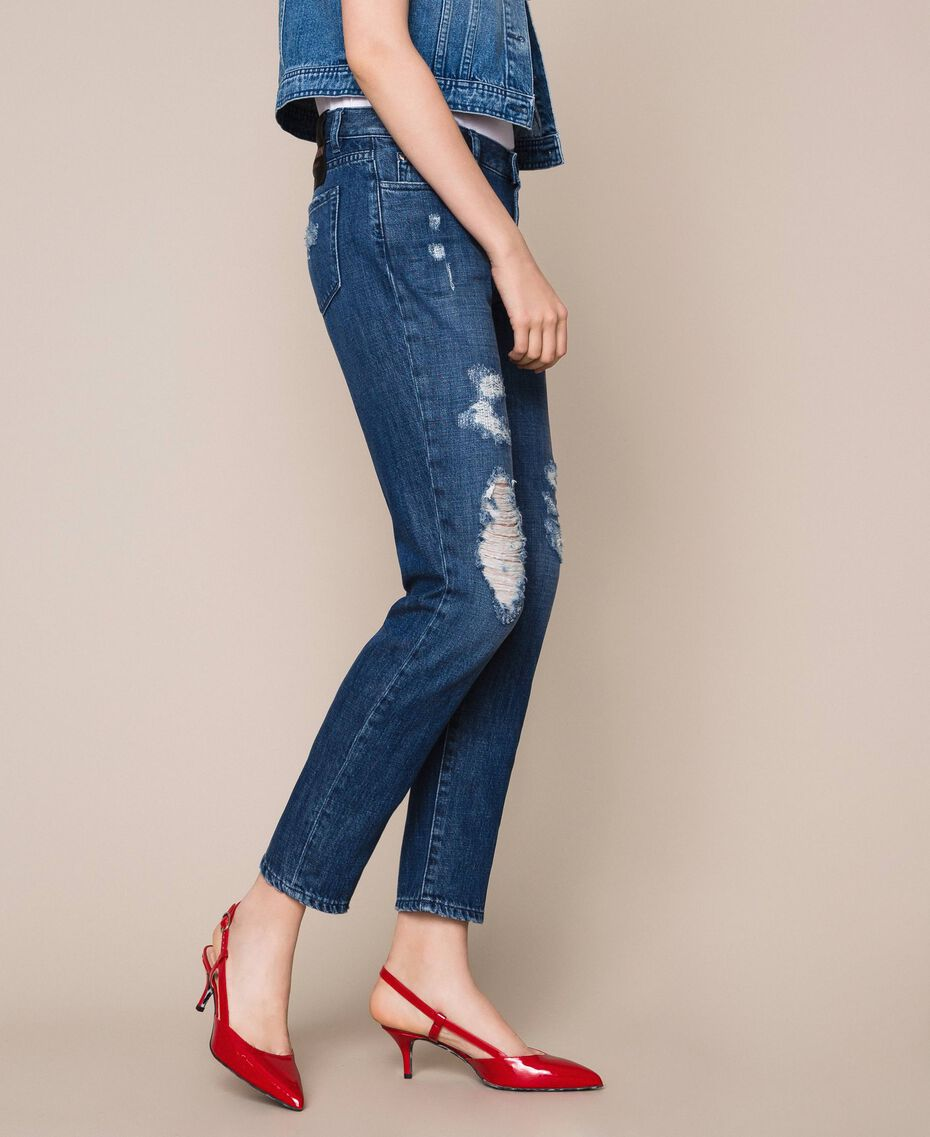 Girlfriend jeans with rips Denim Blue Woman 201MP227E-02