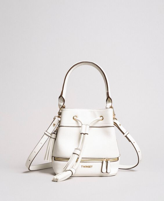 Faux leather bucket bag with tassel