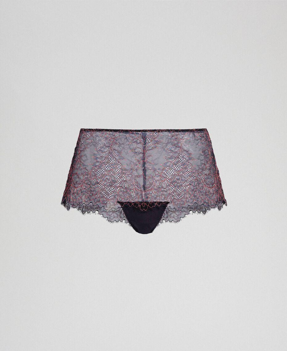 """Slip culotte in pizzo bicolore Nero / Rosa """"Dolly"""" Donna 192LI6499-0S"""
