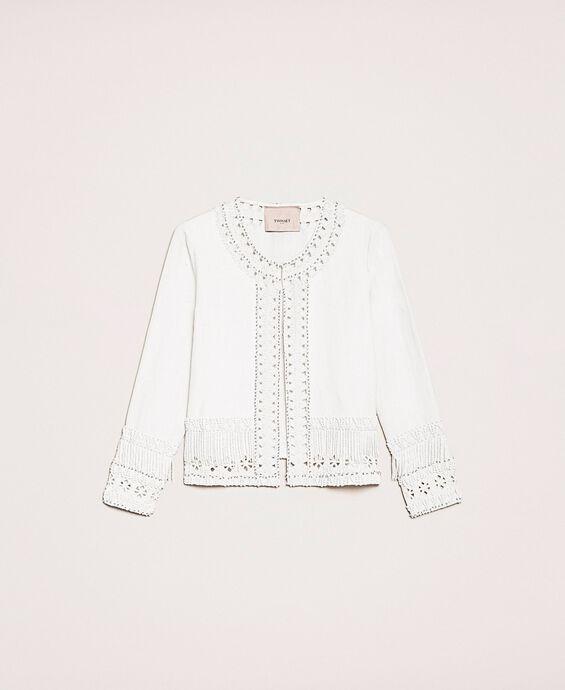 Linen blend Mandarin collar jacket with embroideries