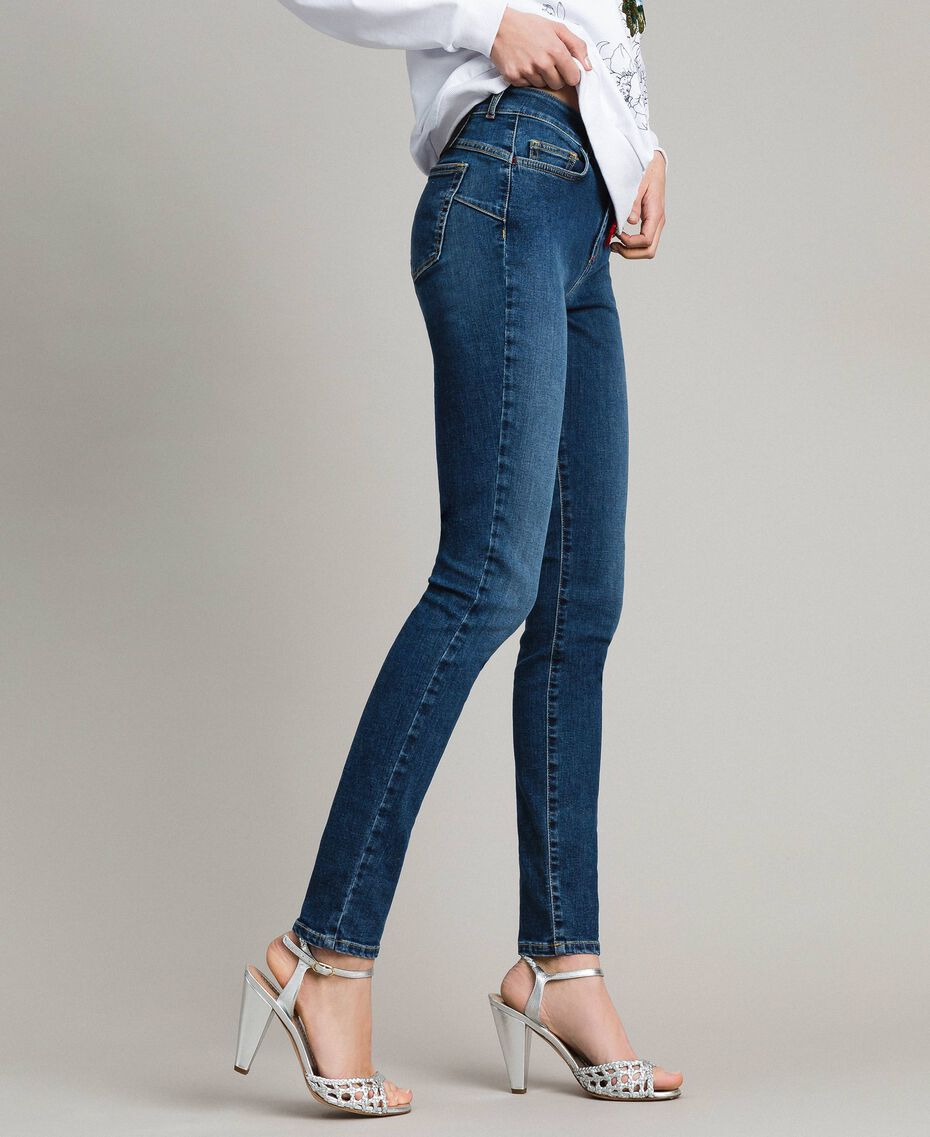 Skinny jeans with charms Denim Blue Woman JCN2V3-01