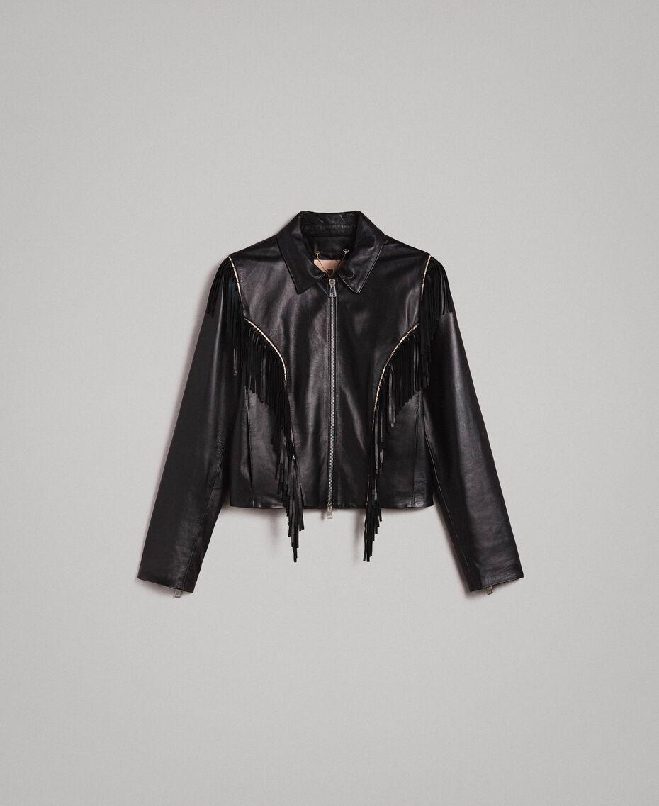 Blouson en cuir à franges Noir Femme 191TT2170-0S