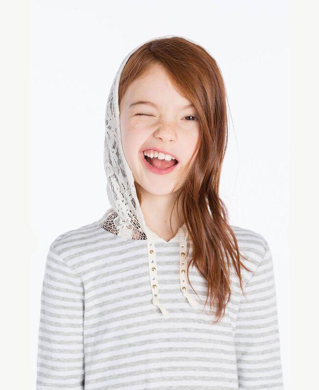 Maxi sweat-shirt dentelle Rayure Blanc Papyrus / Gris Mélangé / Chantilly Enfant GS82UA-05