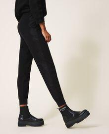 Pantalon de jogging en maille avec dentelle Noir Femme 202TP3384-03