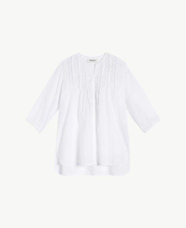 "Embroidered tunic ""Papyrus"" White Jacquard Stripes / Light Melange Grey Child GS82JN-01"