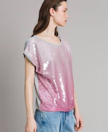 Camiseta con lentejuelas degradadas Bicolor Gris Claro Melange / Rosa Ortensia Mujer 191MP2062-01
