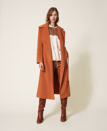 Pantalón pitillo de piel sintética Rojo Terracota Mujer 202LI2GDD-0T