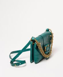 "Small Rebel shoulder bag with croc print ""Python"" Green Croc Print Woman 201TA7111-03"