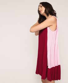 "Pleated crêpe de Chine dress Two-tone ""Crimson"" Red / ""Candy"" Pink Woman 201ST2011-06"