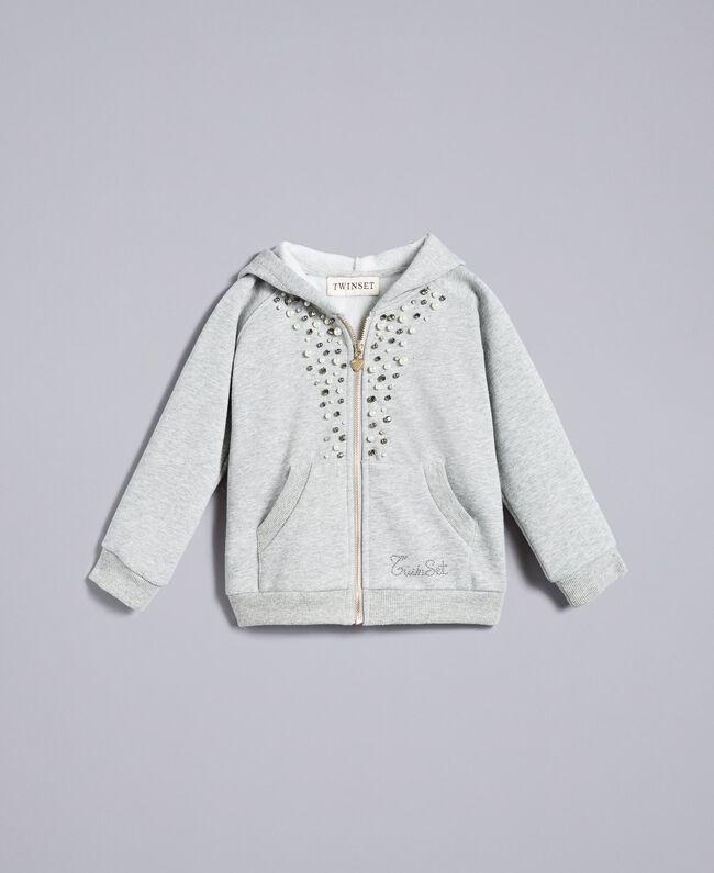 Cotton sweatshirt with pearls and rhinestones Light Gray Mélange Child FA82V2-01