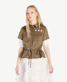 Drawstring shirt Army Green Woman JS82QN-01