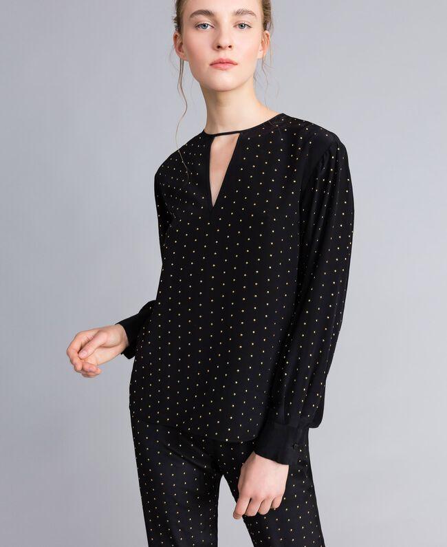 Blusa in seta con borchie Nero Donna PA82EX-01