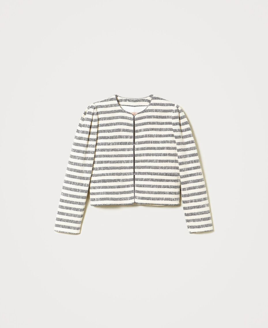 "Striped bouclé jacket ""Ivory Mat"" Grey / Blue Light Stripe Woman 211TT2051-0S"