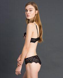 Culotte brésilienne avec imprimé floral et dentelle Imprimé Fleur Noir Femme 192LL6K77-02