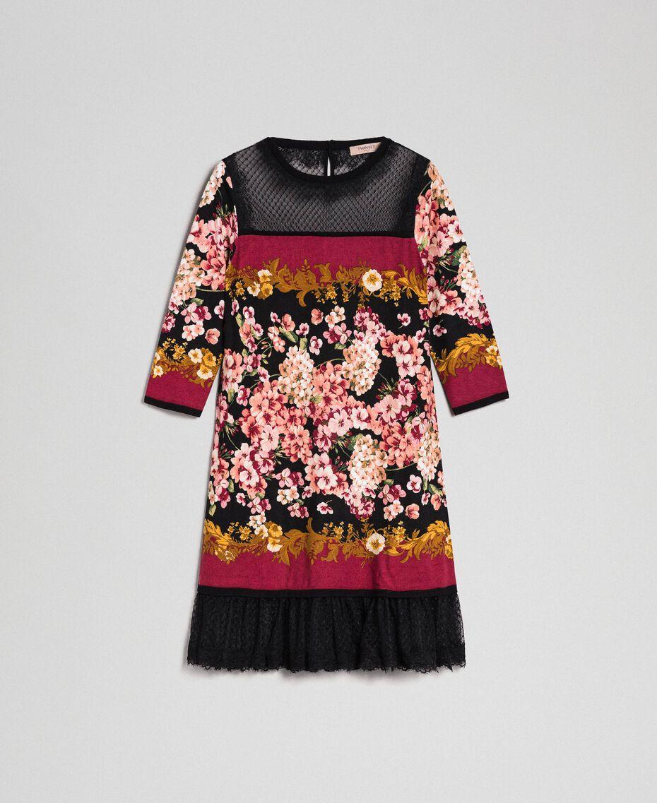 Abito con stampa foulard a fiori e pizzo Stampa Foulard Donna 192TP3361-0S