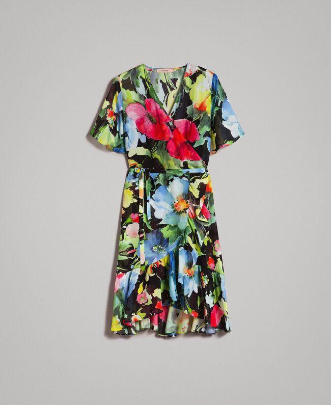 Georgette-Kleid mit Blumenmuster Motiv Schwarze Macro Blumen Frau 191TT2482-0S