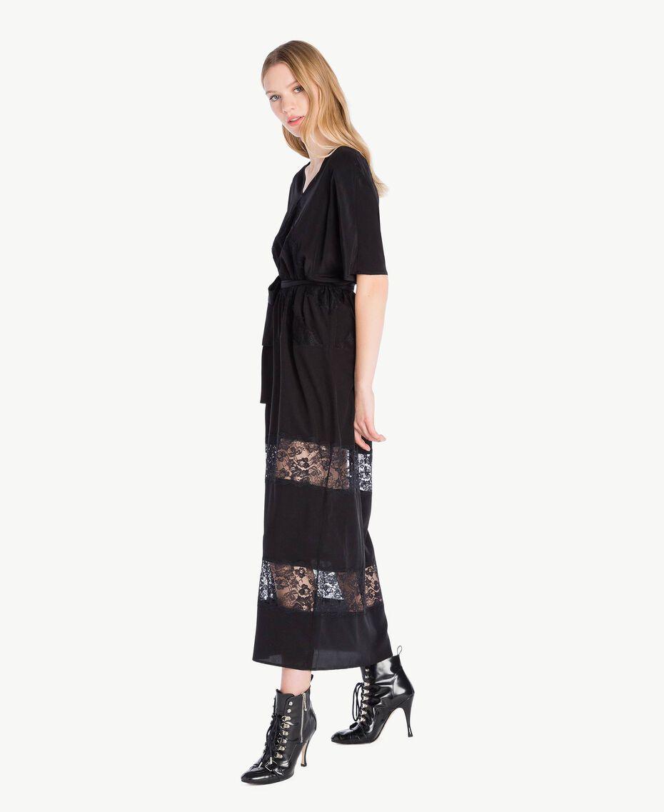 Langes Kleid aus Seide Schwarz Frau PS82Z2-02