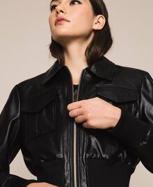 Faux leather jacket with waist band Black Woman 201MP2030-04