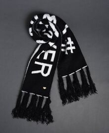 Two-tone fur effect scarf Black / Ivory Woman 192LI4ZMM-01