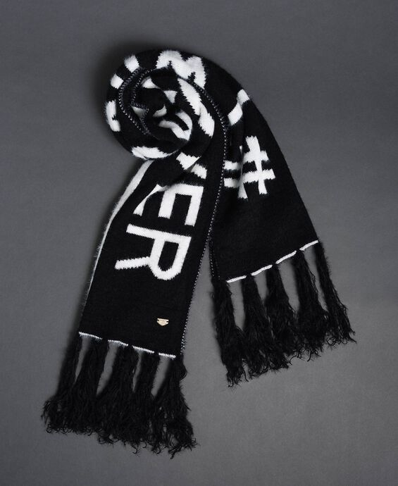 Two-tone fur effect scarf