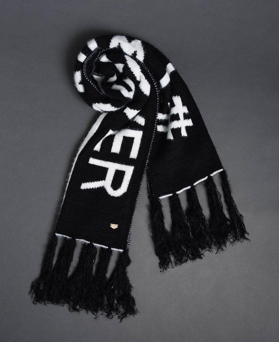 Zweifarbiger Schal in Pelzoptik Schwarz / Elfenbein Frau 192LI4ZMM-01