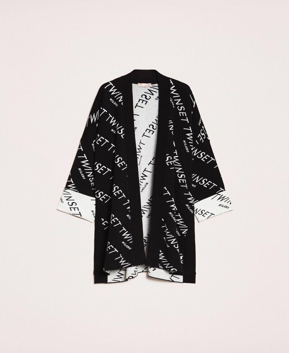 Cardigan jacquard avec logo Bicolore Noir / Blanc Neige Femme 201TP3130-0S