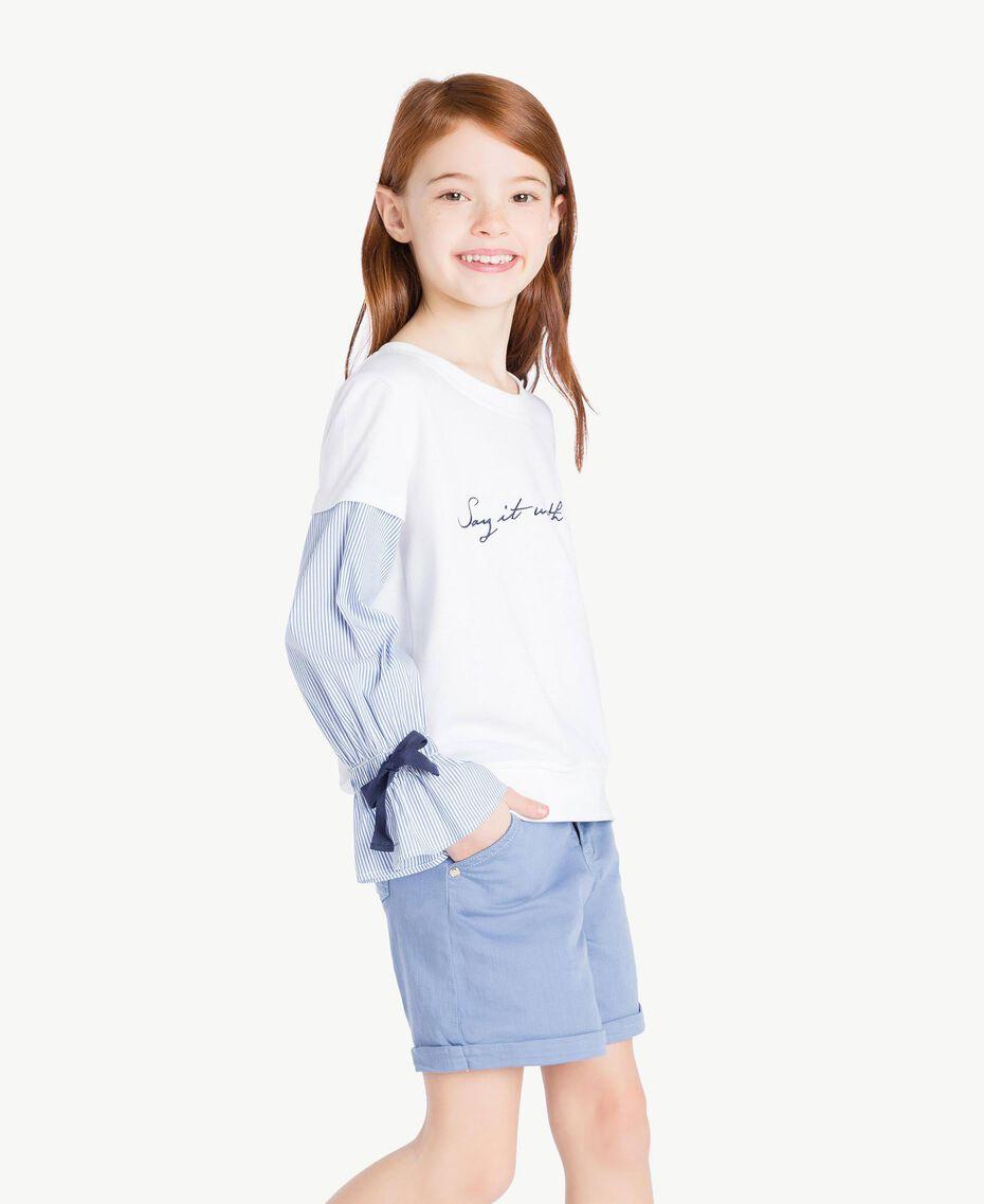 Sweatshirt aus Popeline Jacquard Papyrusweiß / Azur Kind GS82LU-03