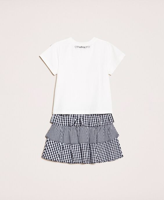 Printed T-shirt and gingham skirt
