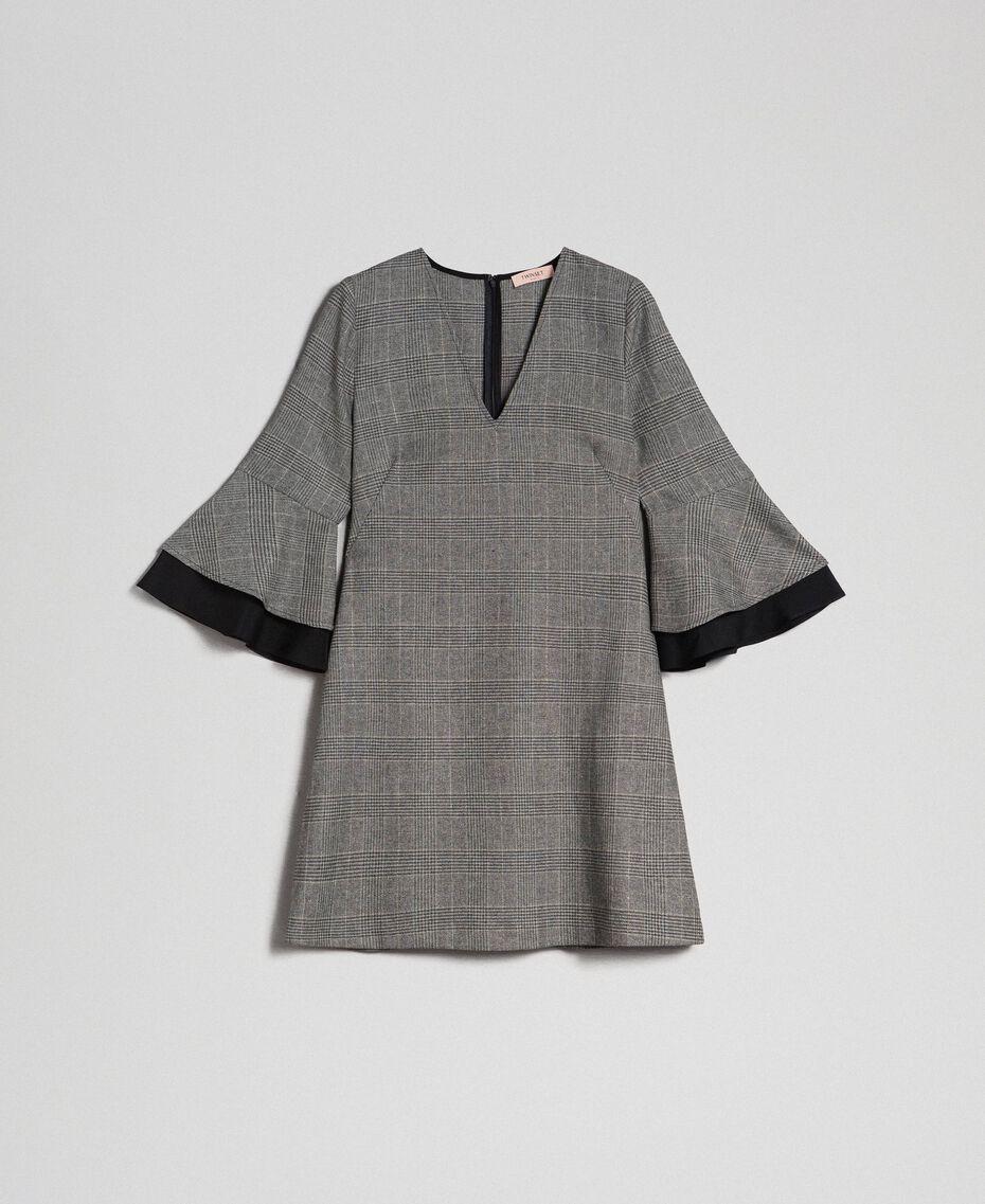 Glen plaid and georgette dress Lurex Dark Grey Wales Design Woman 192TT2447-0S