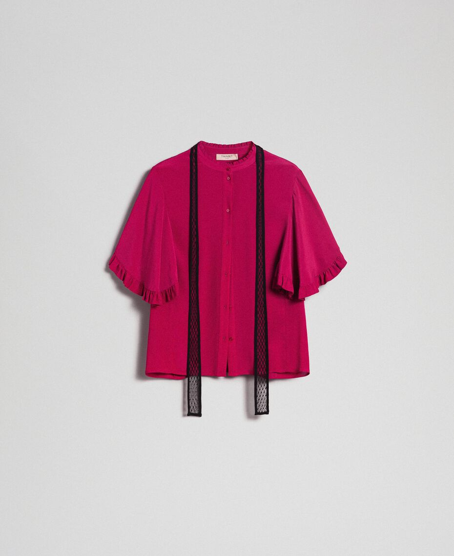 Crêpe de Chine silk blend shirt Beet Red Woman 192TP2260-0S