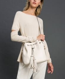 Faux leather bucket bag with studs White Snow Woman 192TO8163-0S