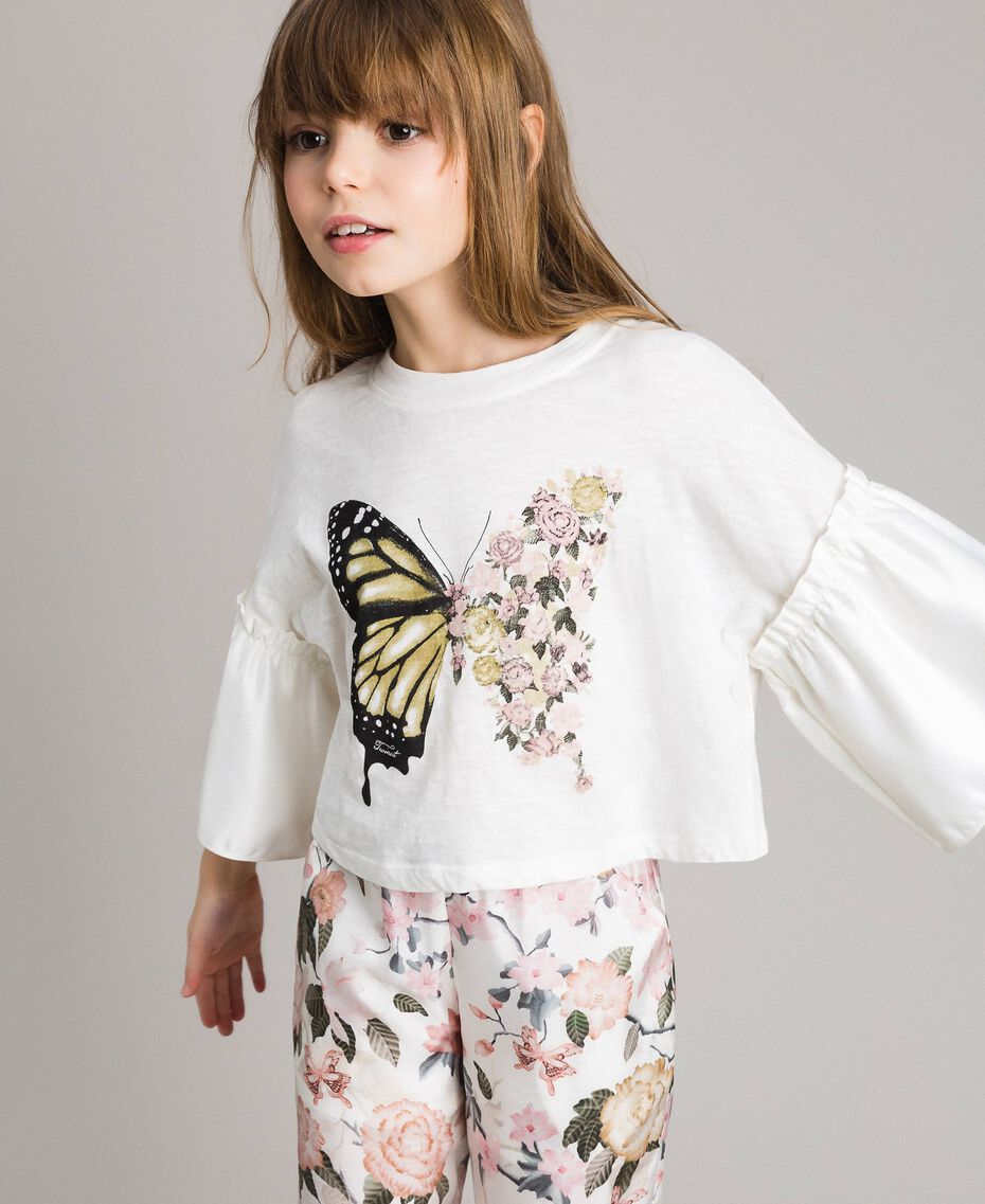 T-shirt en jersey avec volants en satin Off White Enfant 191GJ2402-0S