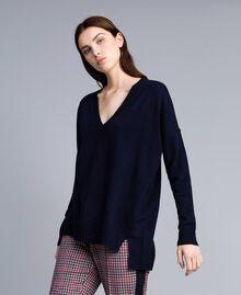 Langer Pullover aus Wolle und Kaschmir Nachtblau Frau TA83AE-02
