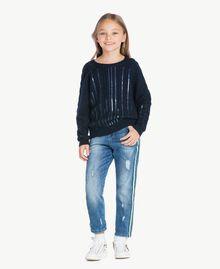 Pullover mit Zopfmuster Blue Night Weiblich GA73BA-01