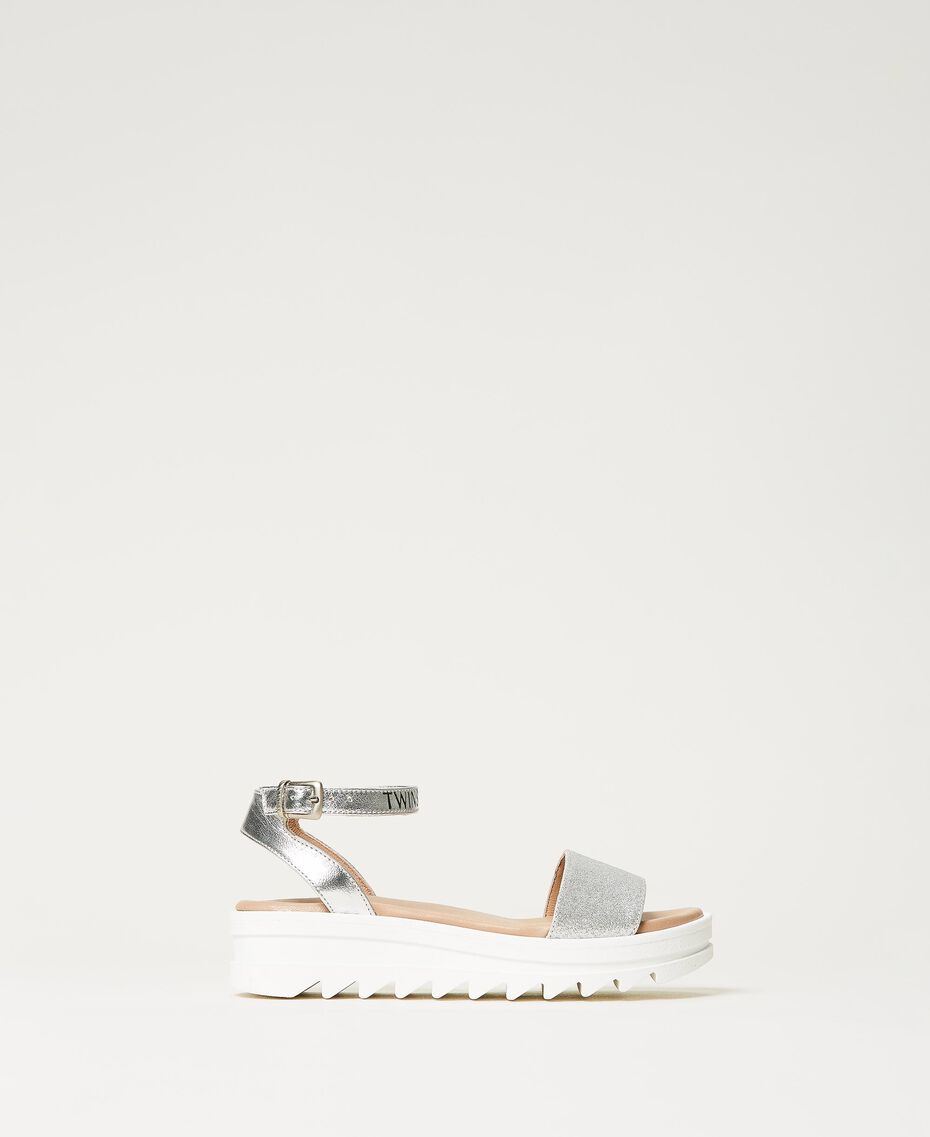 Laminated leather sandals with glitter Laminated Silver Grey Child 211GCJ100-03