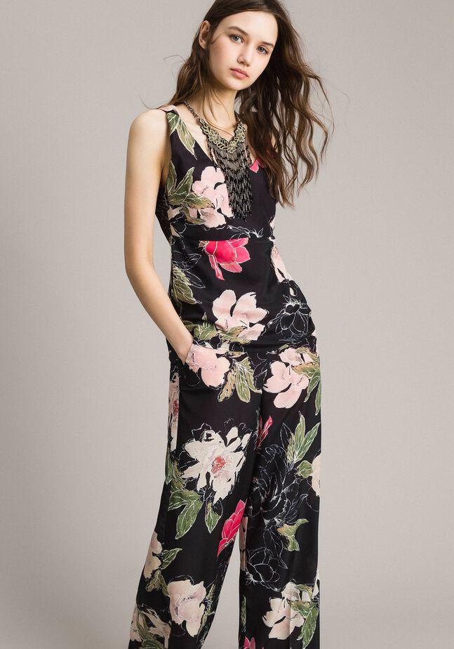 Top en crêpe de Chine à imprimé floral