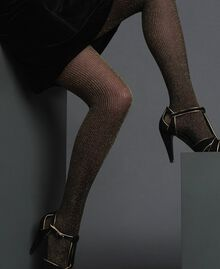 Pin stripe tights with lurex Two-tone Gold / Black Woman 192TO5419-0S